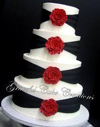 Elegant White And Black Wedding Cake With Red Roses Flickr