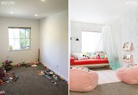 target pillowfort playroom makeover kids childrens mint green and pink activity room emily henderson before and