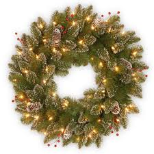 national tree company glittery mountain spruce 24 in artificial wreath with battery operated warm white national tree company wreaths a0