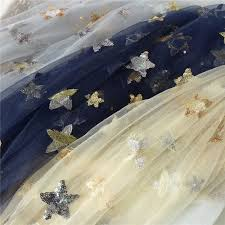 <b>Beautiful</b> Sequin Star Embroidery Print <b>Lace Tulle</b> Fabric For Bridal ...
