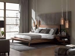 Bedroom:Contemporary Bedroom Ideas With Grey Bedding Also Unique Hanging  Lamp Plus Wooden Platform Bed