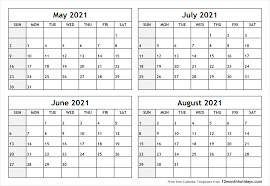 calendar for the month of may printable blank four month may june july august 2021 calendar template