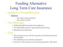 9 funding alternative long term care insurance qualified