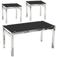description chrome coffee table and end lamp table this set has a black tempered glass top and would fit well in any modern or contemporary design living