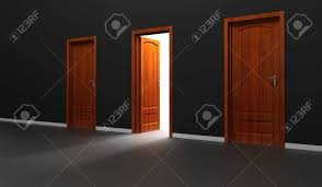 3d open door with light ming from outside stock photo 20331253