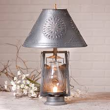farmer s tin lamp with punched shade table lamps tin lighting farmhouse