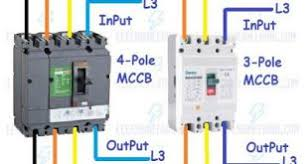mcb wiring connection diagram for single double three and four pole how to wire mccb circuit breakers 3 pole and 4 pole