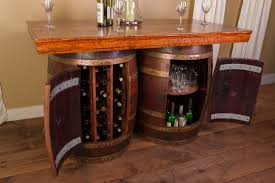 Image Half Barrel Napa Wine Barrel Bar Kitchen Island Stave Stools Winevine Imports Wine Barrel Furniture For Sale Recycled And Reclaimed