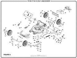 homelite p1102 18 volt lawn mower mfg no 107179001 parts diagram figure a part 2