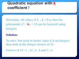 quadratic equation with k coefficient