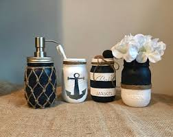 nautical bathroom accessories. nautical bathroom mason jar set - painted decor home accessories a