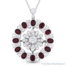 details about 3 80 ct oval cut red ruby diamond pave 18k white gold pendant 14k chain necklace
