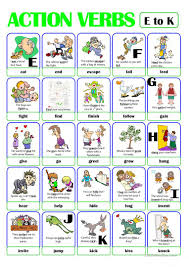 Verb Action Pictionary Action Verb Set 2 From E To K English Esl