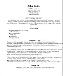 Resume Templates: Animal Care Worker