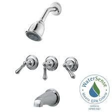 pfister 3 handle tub and shower faucet trim kit in polished chrome valve no