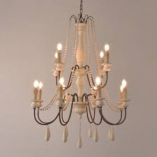 french country white gray wooden candle chandelier 1 2 tier pendant lighting