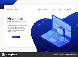 Database Index Design Isometric Concept Database Card Index Laptop Landing Page