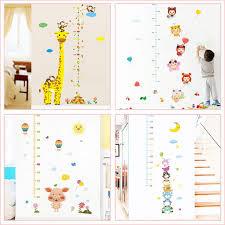 Cartoon Giraffe Growth Chart Wall Stickers Kids Room Home Decoration Pig Monkey Owl Animals Mural Art Height Measure Wall Decals