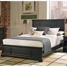 Queen Size Wood Bed Frame Raised Panel Black Finish Headboard