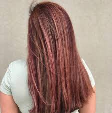 rose gold highlights long dark brown hair