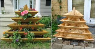 diy vertical garden pyramid planter