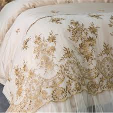 french lace gold embroidery luxury duvet cover set