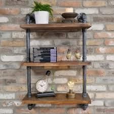 industrial pipe wall shelves black