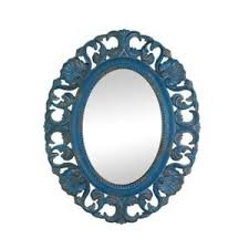 Wall Decor Mirror Antique Blue Mdf Wood Frame Designer Wall Mirrors