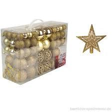 Set 101 Teile Weihnachtskugeln Gold Glänzend Glitzernd Matt