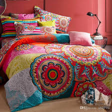 100 sanded cotton fabric bohemia boho duvet cover set winter warm comforter cover bed sheet pillow sham 4pcs bedding sets queen king