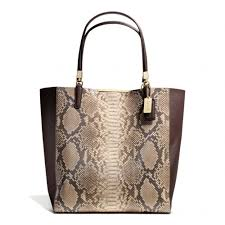 Lyst - Coach Madison Northsouth Bonded Tote in Python Embossed Leather