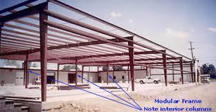 modular frames with interior columns single slope frames