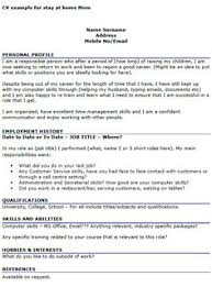 homemaker resume example cv example for stay at home mom