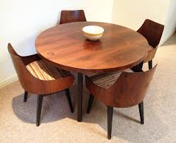 mid century modern dining set round dining table in view