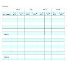 simple food log template daily food journal template diet healthy eating weekly meal