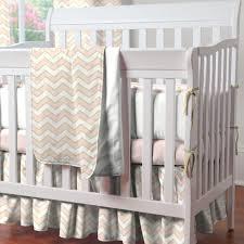 pale pink and gold chevron mini crib bedding