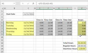 timesheet calculator spreadsheet time sheet in excel easy excel tutorial