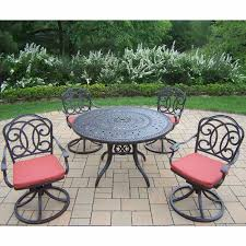 oakland living berkley 5 piece set with 46 round table and 4 cushioned swivel rockers
