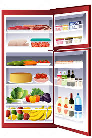open refrigerator drawing. inside of a refrigerator open drawing e