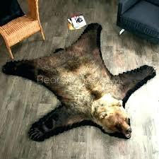 fake bear rug skin faux black bearskin 5 foot 4 white animal with head