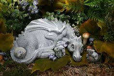 dragon garden statues. Mother Dragon Sculpture - And THREE Baby Hatchlings Garden Concrete Art Statues