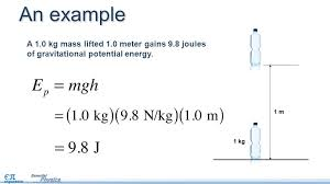 an example a 1 0 kg mass lifted 1 0 meter gains 9 8 joules of gravitational potential energy