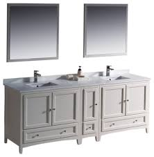 oxford 84 white double sink vanity side versa brushed nickel faucet