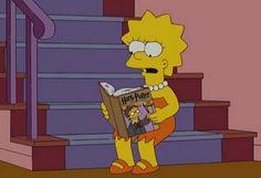 uh why is lisa reading harry potter find this pin and more on cartoons and books