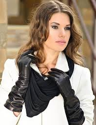 women s elegant and classic long leather gloves warm and image