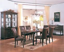 curved table w brown chair dining set