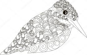 Hand Getrokken Zentangle Ijsvogel Vogel Zwarte En Witte Anti Stress