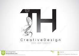 Design Th Th Letter Logo Design With Black Smoke Stock Vector