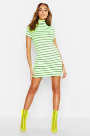 Neon Designer Dress Lyst Boohoo Neon Stripe Ribbed High Neck Mini Dress In Green