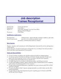 Medical Receptionist Job Description Resume Receptionist Job Description Resume Hotel Front Office Templates 44